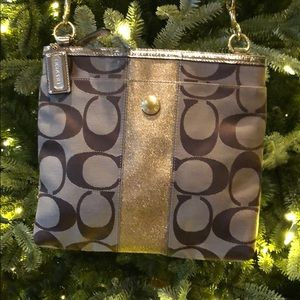 Coach Crossbody with Gold Stripe